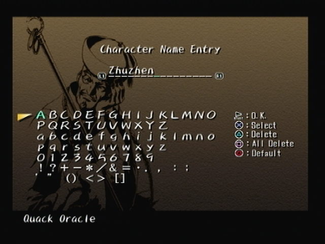 Zhuzhen Li Shadow Hearts Name Screen