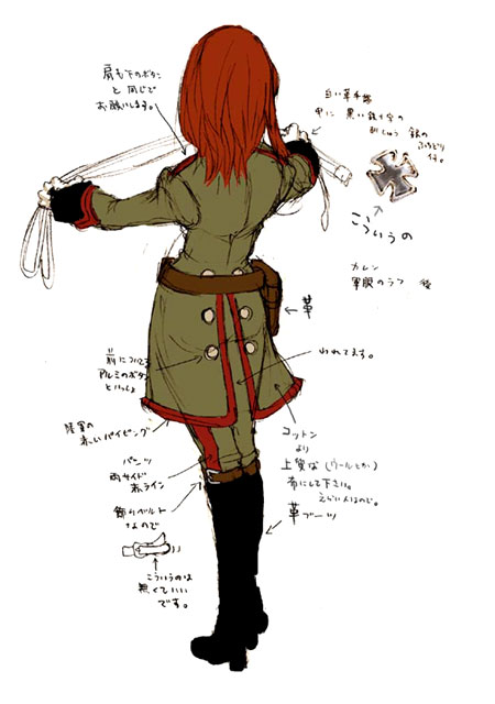 Karin Uniform Shadow Hearts Covenant Concept Art Back