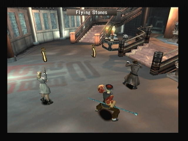 Man Snake Flying Stones Shadow Hearts